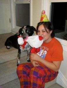 Minnie and me playing tug-o-war!