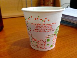 My Christmas Dixie cup for coffee at work.